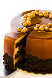 Chocolate, Hazelnut, and Caramel Cake Stock Image