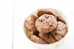 Chocolate and hazelnut cookies Stock Image