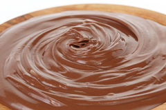 Chocolate hazelnut cream in wood bowl Stock Photos