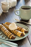 Chocolate Hazelnut Nutella Spread Crepes with Coffee Stock Images