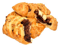 Chocolate And Hazelnut Pastry Plaits Royalty Free Stock Photos