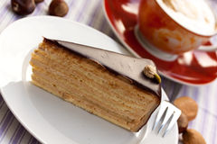 Chocolate-hazelnut pie with cappuccino Royalty Free Stock Image