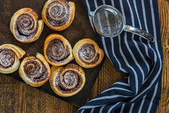 Chocolate hazelnut pinwheels dusted with icing sugar Royalty Free Stock Photography