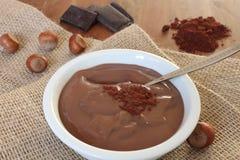Chocolate hazelnut pudding Stock Photo