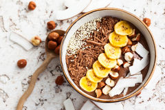 Chocolate Hazelnut Smoothie Bowl Royalty Free Stock Photo