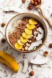 Chocolate Hazelnut Smoothie Bowl Stock Photo
