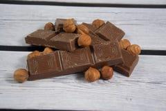 Chocolate with hazelnut. Some broken chocolate with hazelnut Royalty Free Stock Image