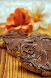 Chocolate hazelnut spread stock photo
