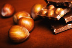 Chocolate with hazelnuts Royalty Free Stock Photo