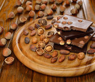 Chocolate with hazelnuts Royalty Free Stock Image