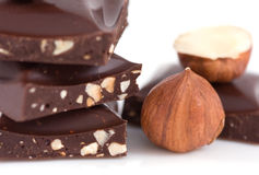 Chocolate and hazelnuts Royalty Free Stock Photo