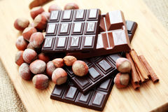 Chocolate with hazelnuts and cinnamon Royalty Free Stock Photo
