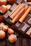 Chocolate with hazelnuts and cinnamon Stock Images