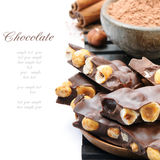Chocolate with hazelnuts and cocoa powder Stock Photo