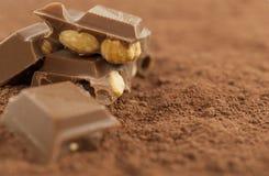 Chocolate with hazelnuts on cocoa powder Stock Photo
