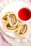 Chocolate, hazelnuts filling pinwheels Royalty Free Stock Images