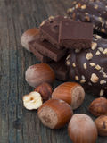 Chocolate with hazelnuts Royalty Free Stock Photos
