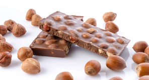 Chocolate with hazelnuts Stock Image