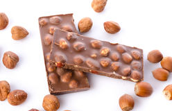 Chocolate with hazelnuts Stock Photography