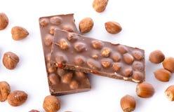 Chocolate with hazelnuts Stock Photography
