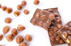 Chocolate with hazelnuts Stock Photos