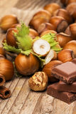 Chocolate and hazelnuts Royalty Free Stock Images