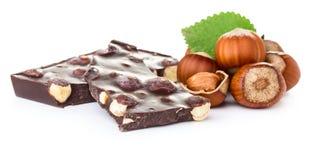 Chocolate with hazelnuts Royalty Free Stock Photos