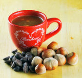 Chocolate and hazelnuts Royalty Free Stock Image