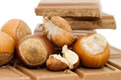 Chocolate and hazelnuts still life Stock Photo