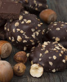 Chocolate with hazelnuts Stock Images