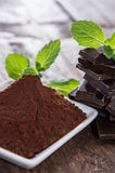 Chocolate with a heap of Cocoa Stock Image