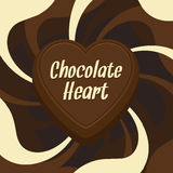 Chocolate heart. Abstract chocolate heart. Vector illustration stock illustration