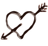 Chocolate heart. Pierced by an arrow on white background Stock Photography