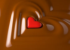 Chocolate heart. Render of a red heart in chocolate cream Stock Image