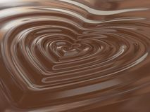 Chocolate heart. A computer generated image of waves in the shape of an hearth in the chocolate fondue Royalty Free Stock Photo