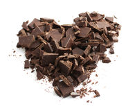 Chocolate heart. A delicious chopped chocolate heart Royalty Free Stock Photography