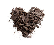 Chocolate heart. A delicious chopped chocolate heart Royalty Free Stock Photo