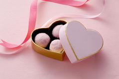 Chocolate in heart box. Strawberry chocolate in heart box of  valentine's day Royalty Free Stock Images