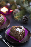 Chocolate Heart Cake with White Snowflake for New Year's Eve Stock Image