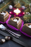 Chocolate Heart Cake with White Snowflake for New Year's Eve Stock Photography