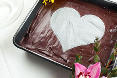 Chocolate Heart Cheesecake Stock Image