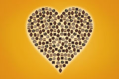 Chocolate heart formed by praline Stock Images