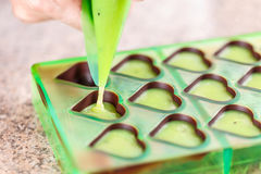 Chocolate in heart forms Stock Photo