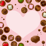 Chocolate heart frame Royalty Free Stock Photo