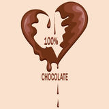 Chocolate heart. Melted chocolate. Stock Photos