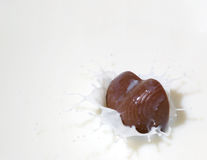 Chocolate heart and milk Stock Photography