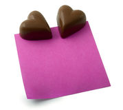 Chocolate heart note Royalty Free Stock Images