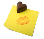 Chocolate heart note Royalty Free Stock Photo