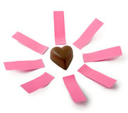 Chocolate heart notes Stock Photography