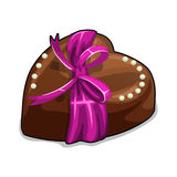 Chocolate heart with pink bow and pearls Royalty Free Stock Photo